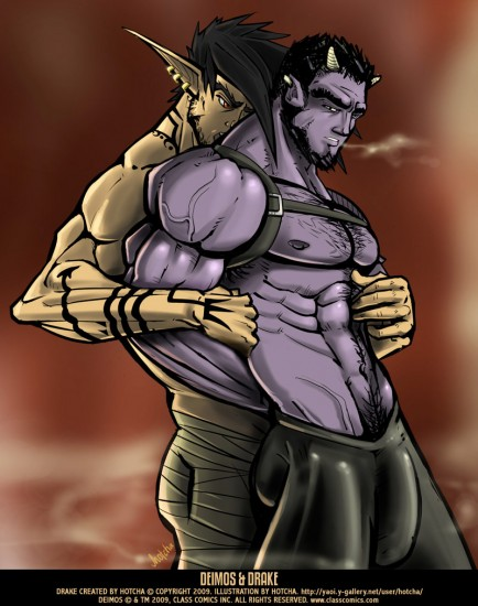 Deimos and Hotcha's sexy OC, Drake share a tender moment. Class Comics fan art illustration by Hotcha.