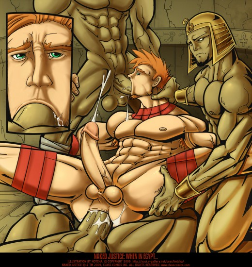 Naked Justice gets his while in Egypt.  Class Comics fan Illustration by Hotcha!