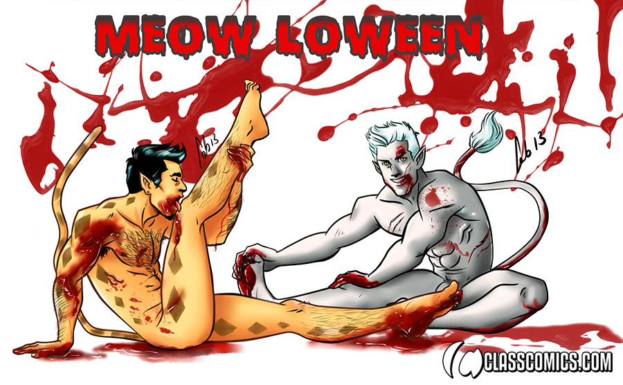 HAPPY MEOW-LOWEEN! Fan art illustration of Camili-Cat and Lanor by FAB!