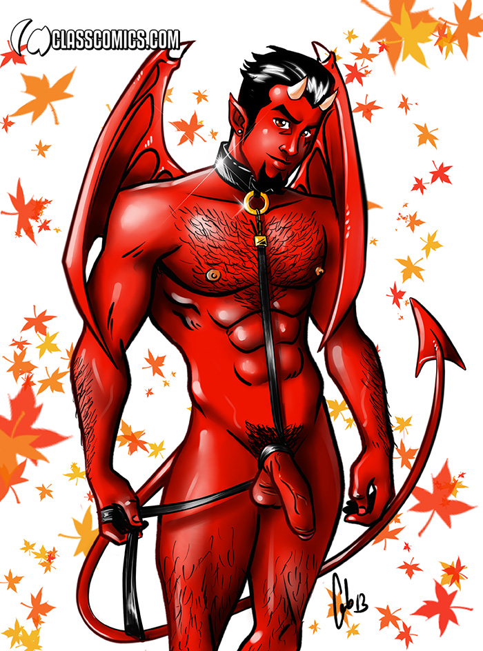 This year for Halloween, Diablo wears a foreskin and leather disguise! Fan Art Illustration by FAB!
