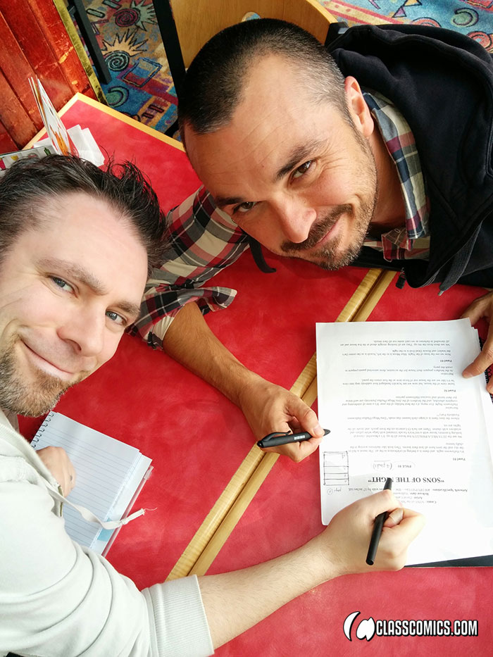 David Cantero and Patrick Fillion working on SONS OF THE NIGHT #1, in Vancouver, October 2014.