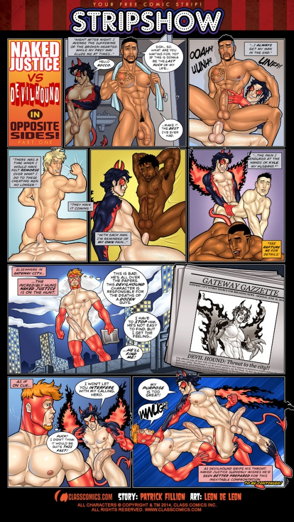 Naked Justice and Devilhound in Opposite Sides by Leon De Leon! Your free erotic gay comic of the month!